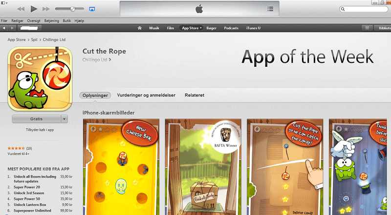 Gode Apps til Børn - Cut the Rope
