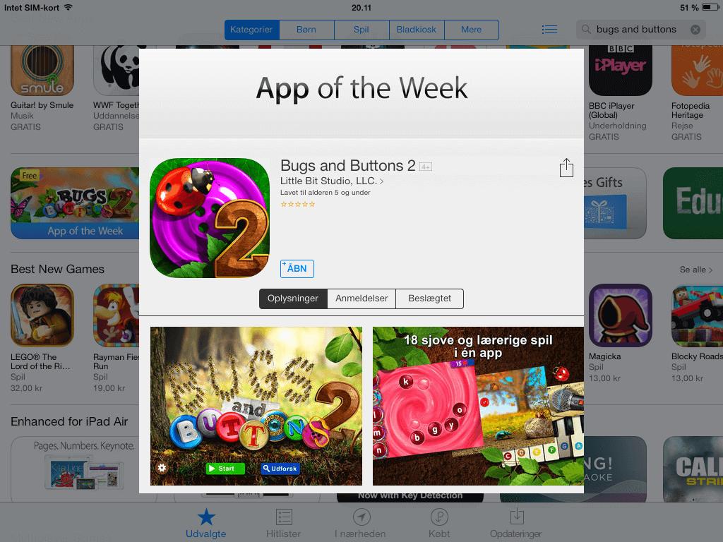 Gode Apps til Børn - Bugs and Buttons 2