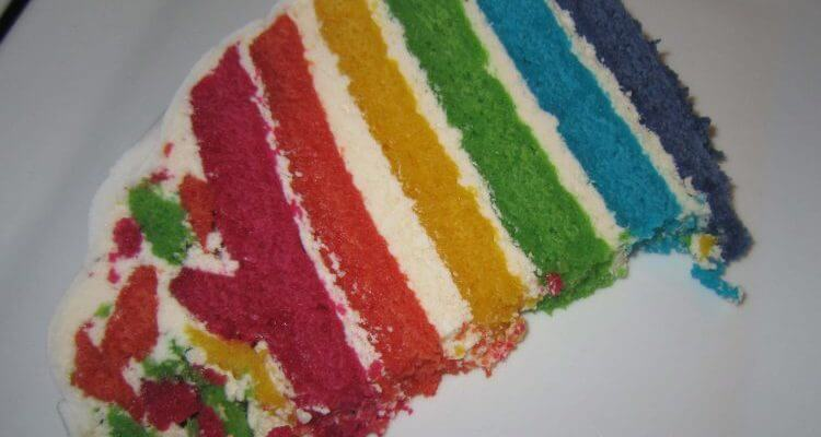 Rainbow Cake slice closeup